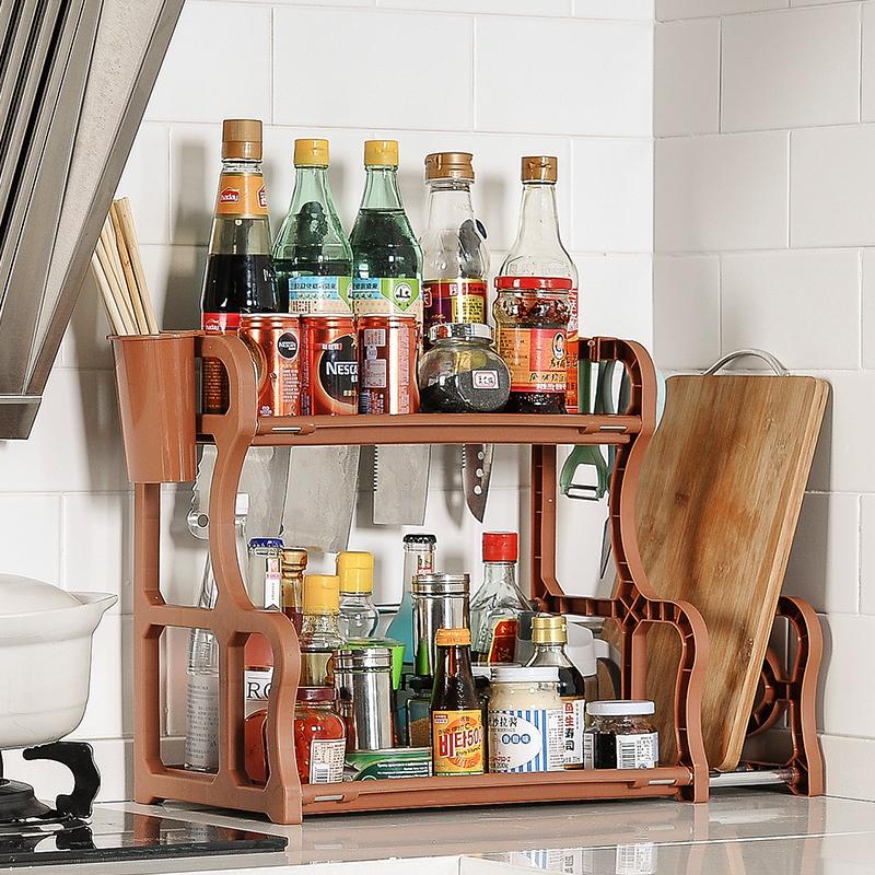 落地多层厨房用品用具调味料置物架不锈钢调料收纳架免打孔省空间