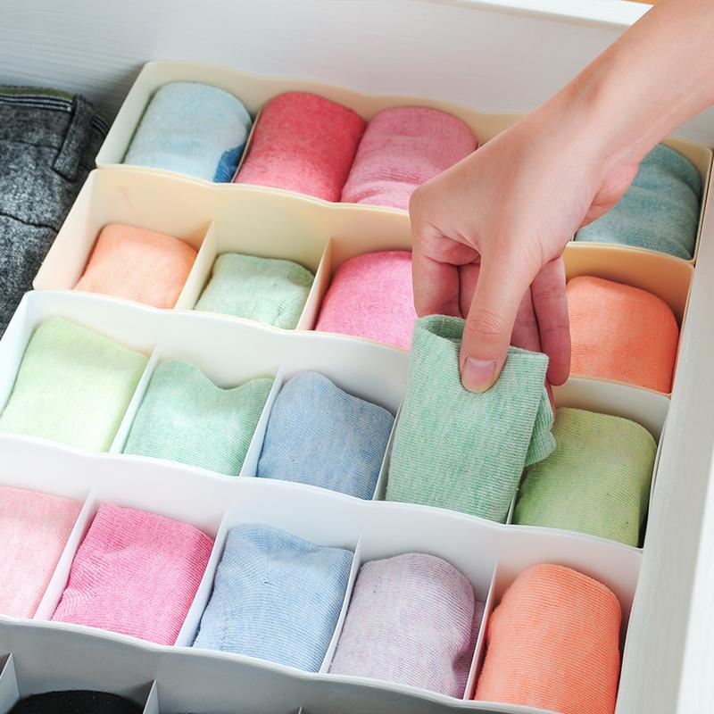 日式可叠加多功能内衣袜子收纳盒加厚塑料5格抽屉整理盒收纳盒