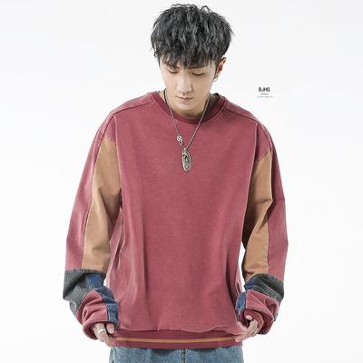 BJHG mùa xuân Châu Âu và Mỹ đường phố hip hop lỏng cũ hit màu khâu dài tay áo vòng cổ áo thun áo len triều nam áo khoác