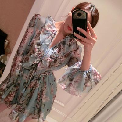Bohemian thời trang mới mảnh jumpsuit v- cổ xù bãi biển váy chiffon in lỏng đầm thủy triều Sản phẩm HOT