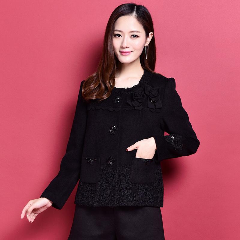 Giấc mơ Lisa gió áo len lông dày 2017 mùa thu và mùa đông của phụ nữ ngọt ngào đoạn ngắn kích thước lớn coat hồng Mary