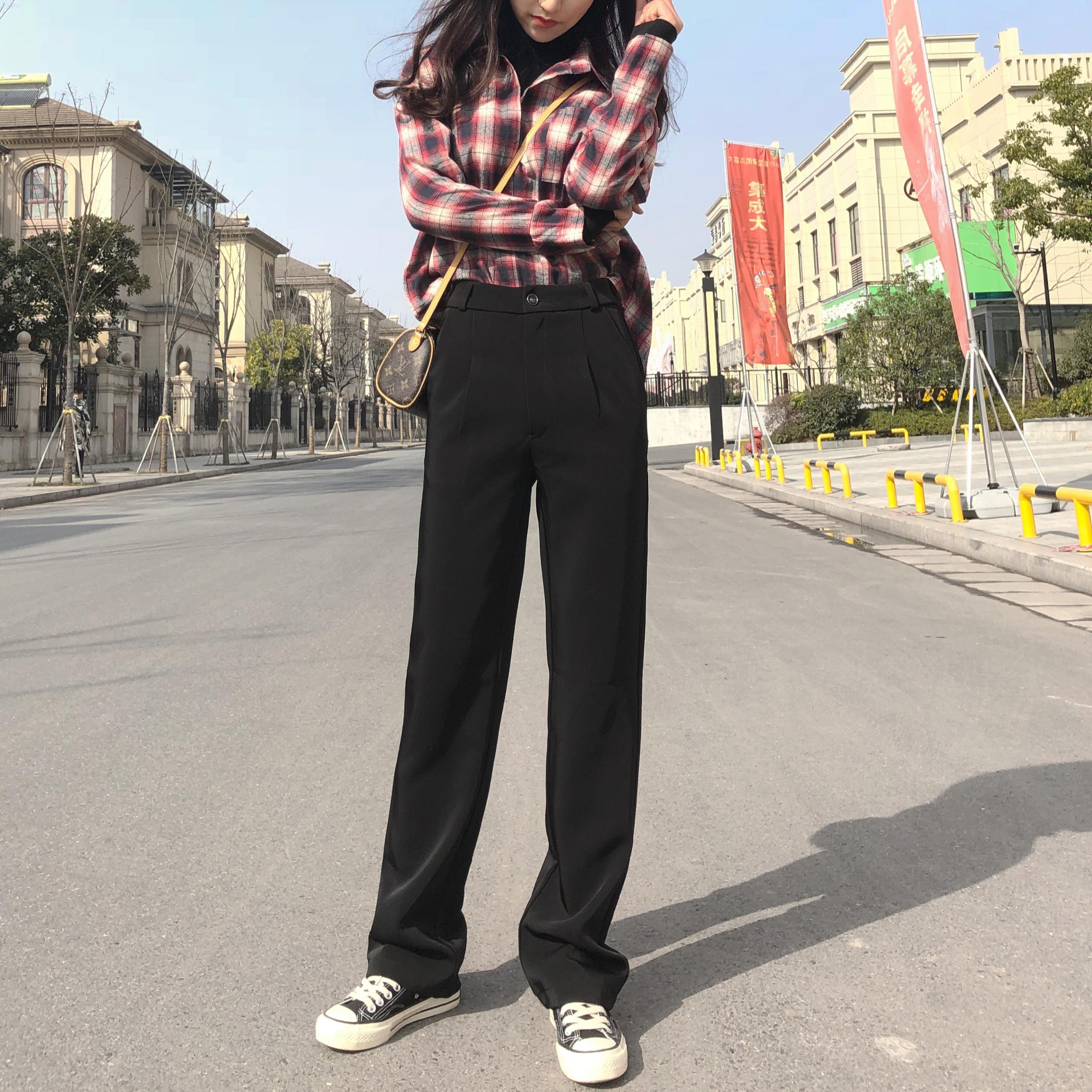秋季新款高腰直筒裤女韩版宽松显瘦百搭学生拖地裤加长西装阔腿裤