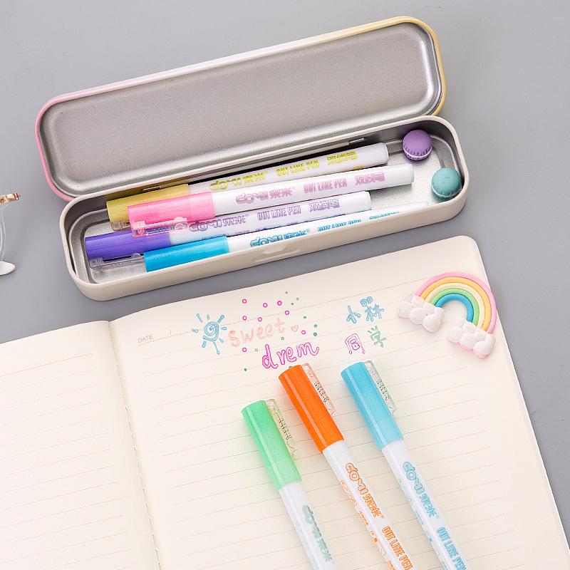 东米彩色双线笔多色荧光标记笔 糖果色学生用圆头笔手帐笔记号笔