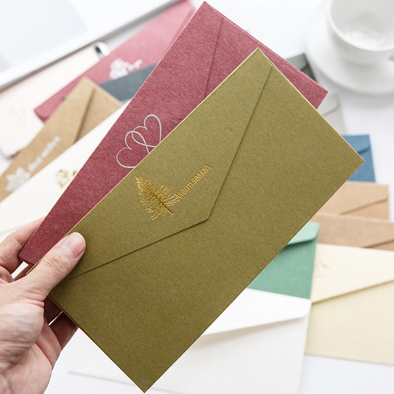 中国风复古烫金仿古印刷彩色高档商务邀请函信封 5号工资标准信封
