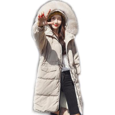 2018 mới chống mùa xuống áo khoác của phụ nữ phần dài trên đầu gối Hàn Quốc phiên bản của eo siêu lớn cổ áo lông thú dày thời trang áo triều Xuống áo khoác