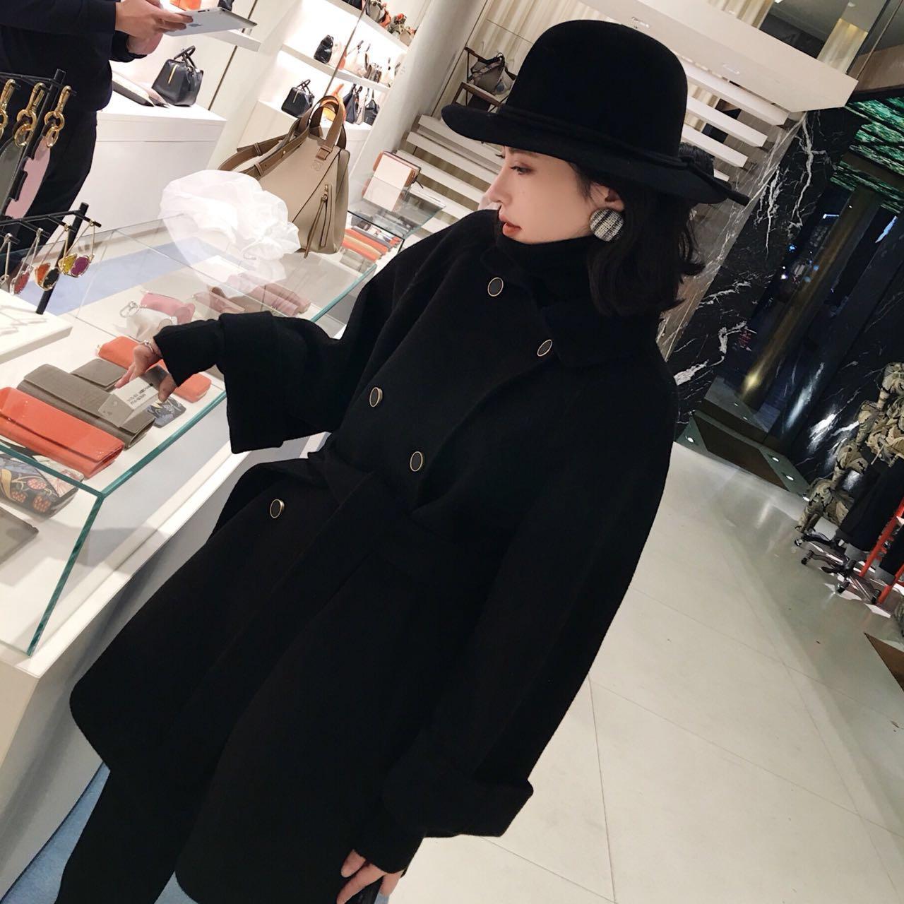 Chống mùa giải phóng mặt bằng khí đôi ngực vành đai hai mặt len áo len trong áo len dài nữ mùa đông màu đen