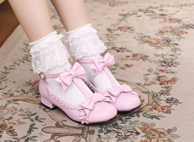 taobao agent Lolita original gorgeous round bow thick heel sweet lace cute daily tea party small leather shoes