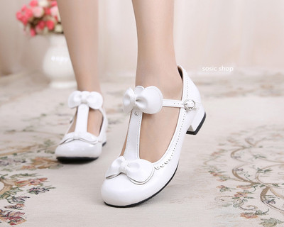 taobao agent Lolita Lolita sweet and cute flat bow round head Latin student lace low-heeled small leather shoes