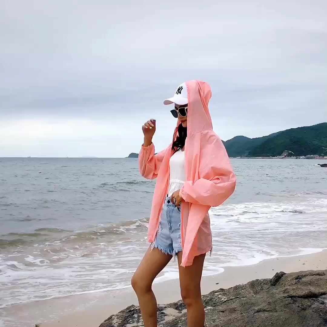 实拍韩版中长款防晒衫女上衣2019新款夏季过膝薄款外套防晒服潮