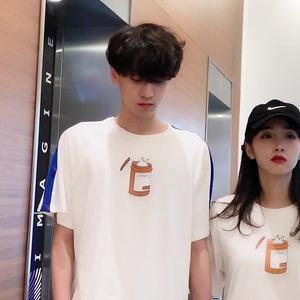 100棉2019夏裝新款情侶裝T恤寬松版型港風 學生班服 面料已檢測
