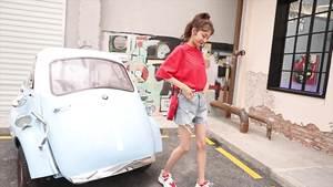 实拍有视频阔腿高腰字母印花刺绣猫头牛仔短裤女2019夏新版