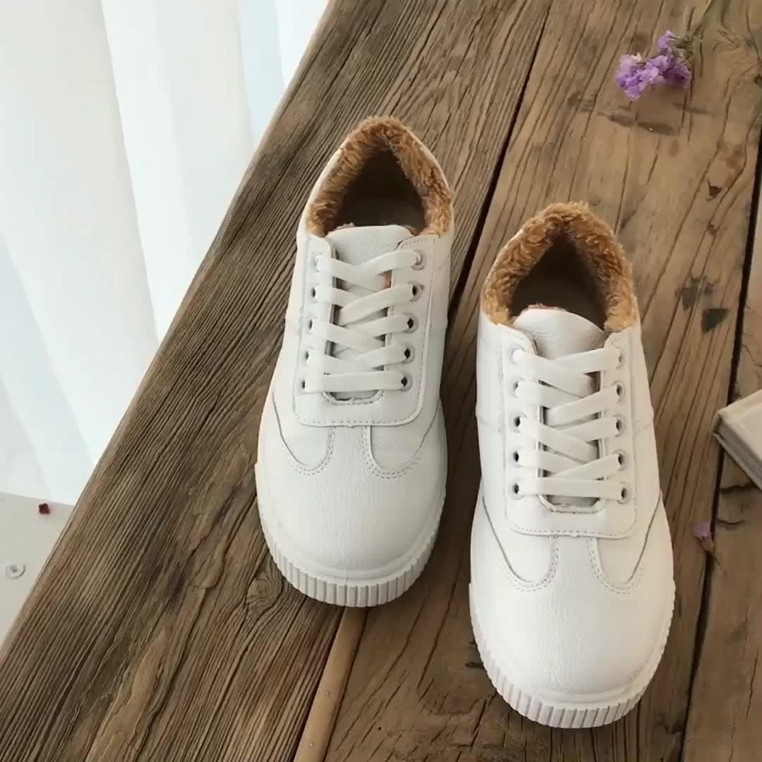 实拍实价韩国冬季百搭简约拼接绒毛系带平底休闲鞋基础板鞋小白鞋