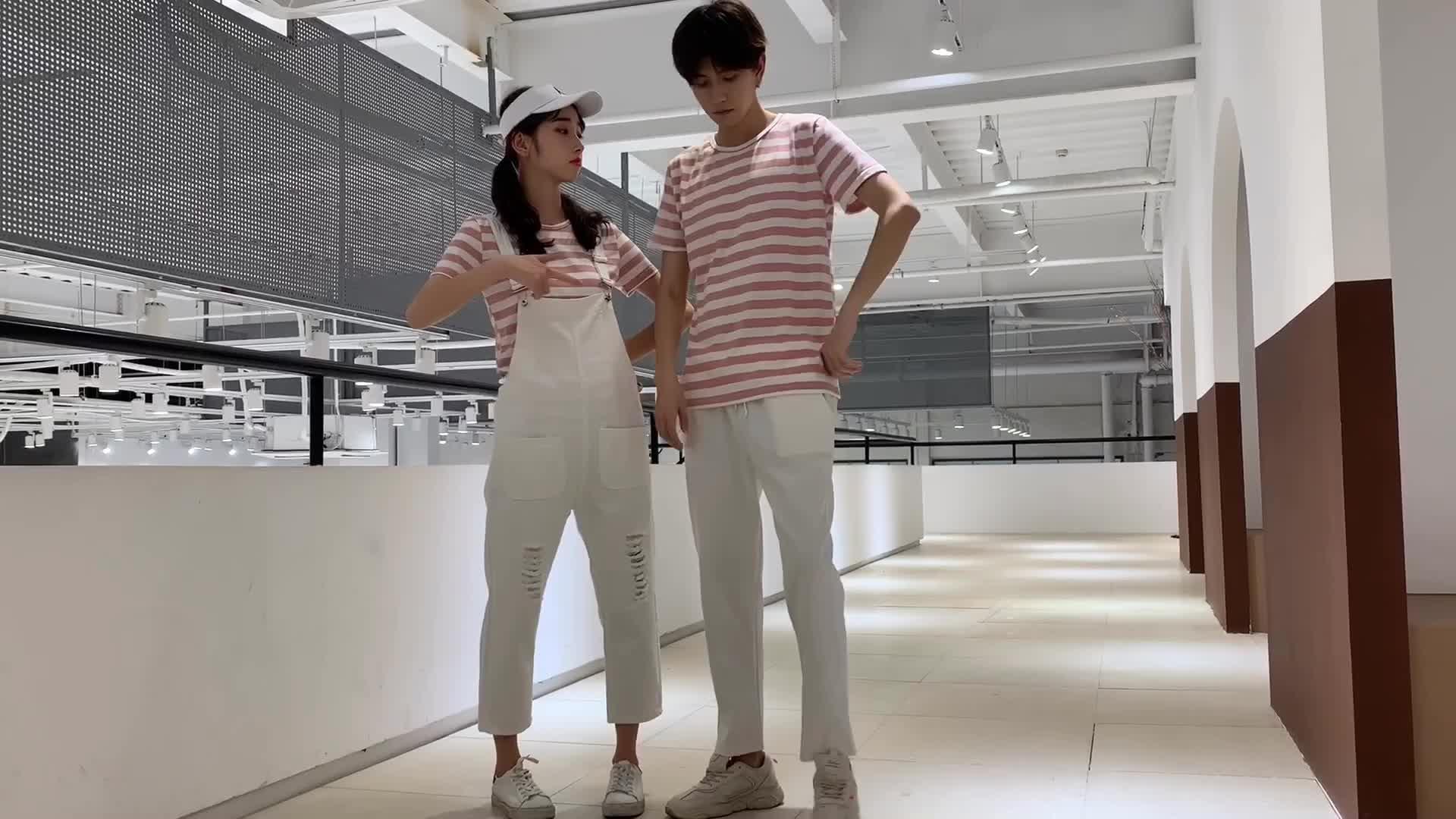 亚博娱乐平台入口+视频2019夏季新款情侣装条纹短袖套装修身学生班服