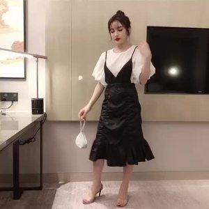 小視頻實拍實價2件套燈籠袖雪紡上衣百搭修身褶皺吊帶裙