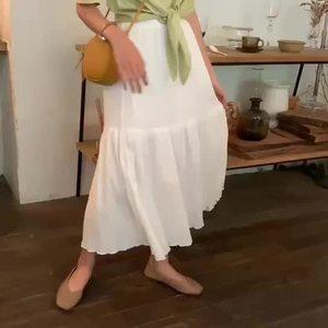 實拍+小視頻 2019夏季新款寬松雪紡高腰百搭褶皺半身裙