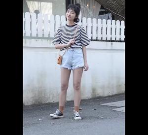 實價有視頻高腰牛仔短褲女夏韓版寬松顯瘦白色破洞闊腿熱褲