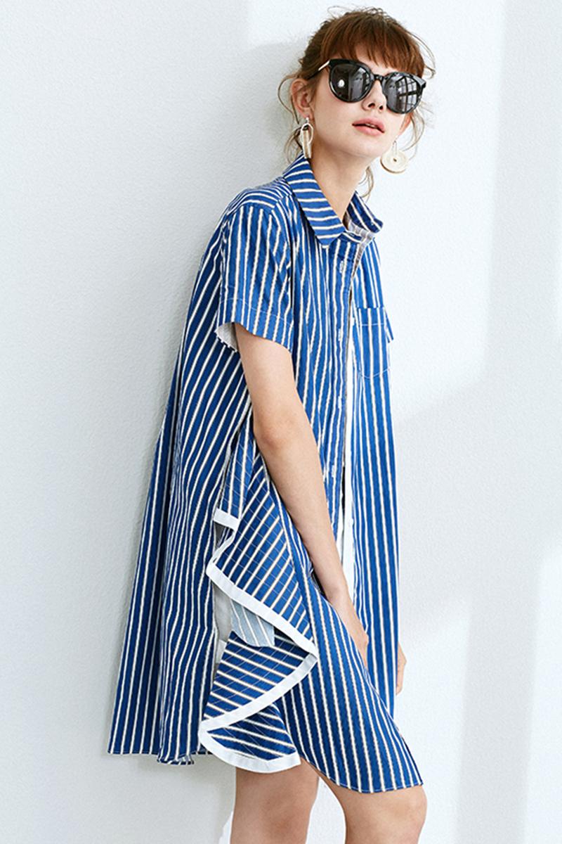 Belle Garden cổ điển màu xanh và trắng rộng sọc đơn ngực áo váy bên Zip ngắn tay áo 18 mùa hè mới