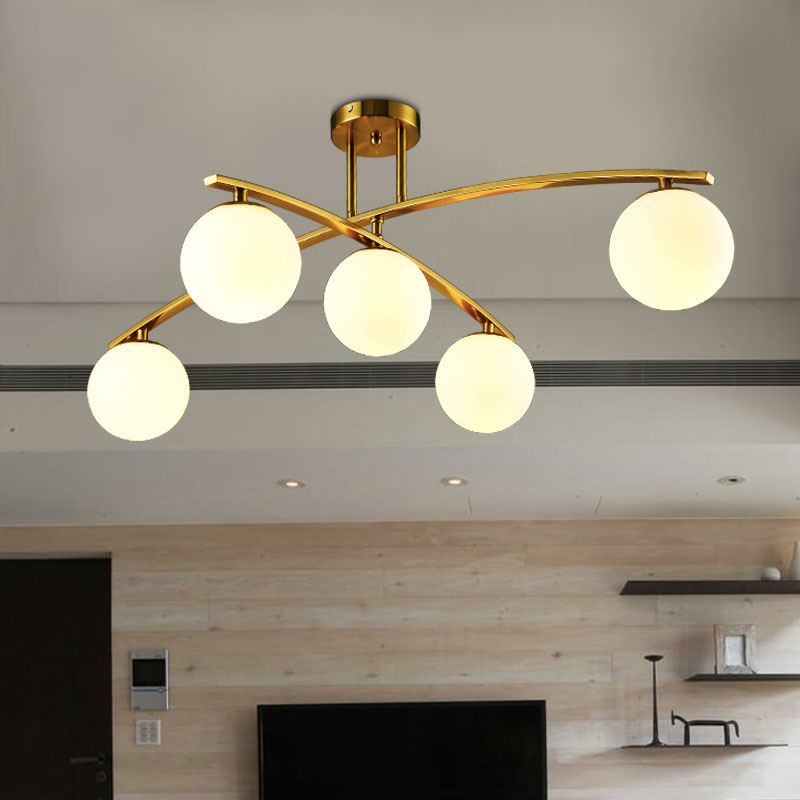Ponte Vecchio, Glass Ball Shade Metal LED Chandeliers Light Living Room Bedroom Modern Decor Horizon Lights