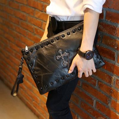 2017新款休闲软皮手包 韩版手拿包 时尚男女手包信封包单肩斜跨包