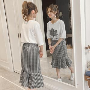 实拍2018新款韩版心机荷叶边半身裙套装女时尚小清新连衣裙两件套