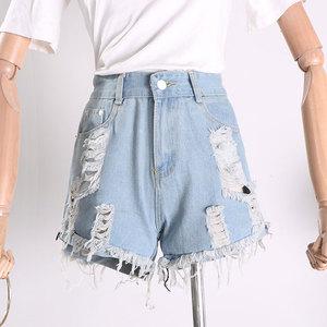 G 02 rửa trắng lỗ tua jeans mùa hè thời trang hoang dã xu hướng của phụ nữ quần short Q