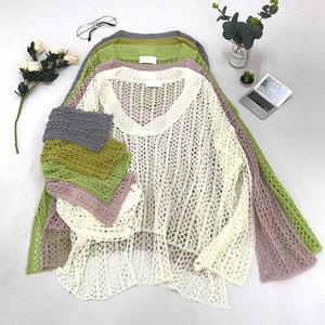 G 30 Hàn Quốc phiên bản của sâu V-Cổ hollow chuông tay áo len của phụ nữ new solid color ngọt hoang dã lỏng Hồng Kông hương vị áo sơ mi