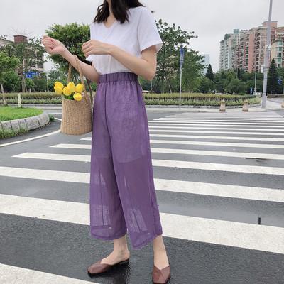 8213#实拍实价夏季新款韩版九分休闲裤女宽松显瘦时尚阔腿裤