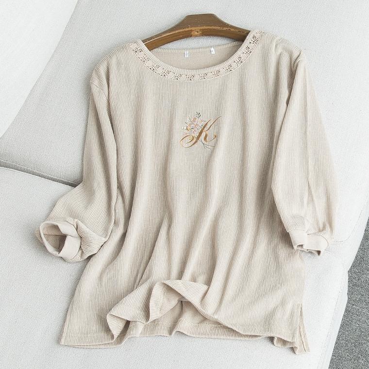 34064 2018 new Nhật Bản thêu móc hoa lỏng hoang dã ngọt ngào chín điểm tay áo của phụ nữ T-Shirt Tháng Tám 2