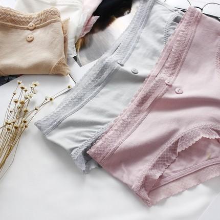 基础纯色棉质文艺纽扣少女内裤柔软舒适蕾丝边中腰三角女士内裤