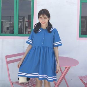 夏季女装新款韩范软妹chic风海军领宽松显瘦中长款字母短袖连衣裙