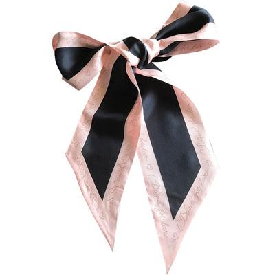 推荐复古款长条儿丝巾 黑粉拼色 OL风格时髦丝巾飘带真丝领巾围巾