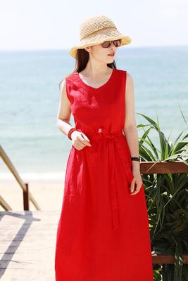 [Red mùa hè ~ đỏ] mười gỗ mét ban đầu 2018 mùa hè mới du lịch nghệ thuật linen vest váy với một vành đai Sản phẩm HOT