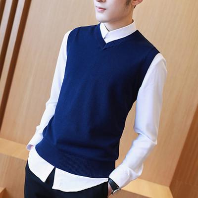 2018 mùa xuân và mùa thu vest nam áo len vest thanh niên V-đan tay Hàn Quốc phiên bản của triều đáy len vest quần áo mỏng Dệt kim Vest