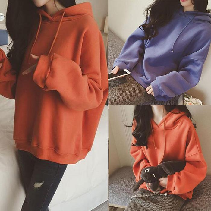 2016冬季新款韩版刺绣加绒连帽卫衣女中长款套头宽松纯棉学生上衣