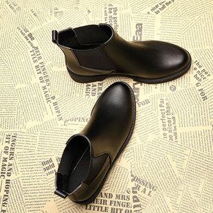 新款平底马丁靴加绒短筒切尔西靴鞋