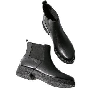 春秋新款网红短靴平底马丁靴切尔西女裸靴