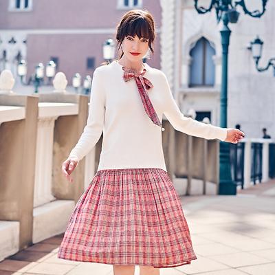 春哥大码女装春季新款200斤胖妹妹洋气套装连衣裙格子两件套