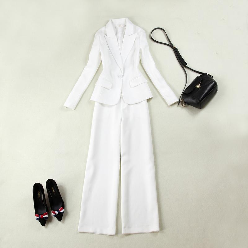 Kích thước lớn phụ nữ 18 mùa xuân mới khí mỏng dụng cụ phù hợp với màu trắng + thẳng rộng chân quần phù hợp với phù hợp với