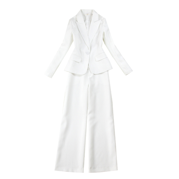 Kích thước lớn phụ nữ 18 mùa xuân mới khí mỏng dụng cụ phù hợp với màu trắng + thẳng rộng chân quần phù hợp với phù hợp với Business Suit