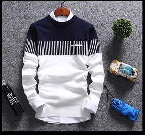 韩版男装毛衣男2016秋季新款青少年拼接套头男士修身针织衫6261#