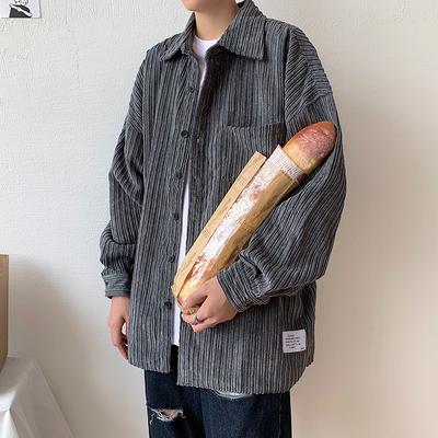子俊男装秋季外搭灯芯绒长袖衬衫男日系复古ins衬衣外套休闲上衣
