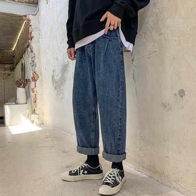 子俊男装秋季直筒牛仔裤男坠感阔腿裤宽松老爹裤九分百搭裤子
