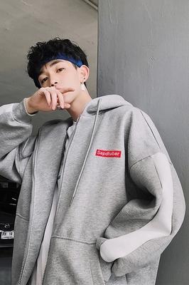 Zijun mùa xuân người đàn ông mới của đồng phục bóng chày xu hướng sinh viên trùm đầu áo len lỏng Hàn Quốc phiên bản của đẹp trai khâu tay áo áo khoác