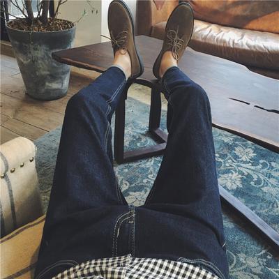 子俊秋季新款纯色水洗牛仔裤男士青年修身长裤港风休闲小脚裤