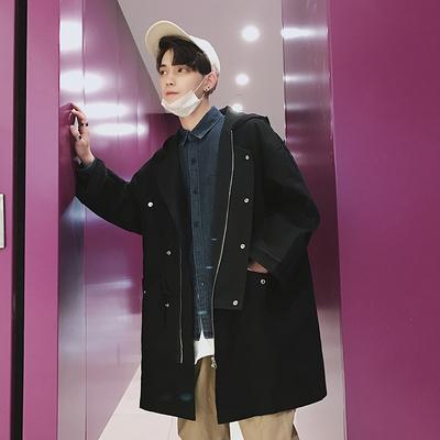 Gà chiên trông tốt ~ mùa xuân nạp vai dài trùm đầu áo khoác đẹp trai dụng cụ phù hợp với phiên bản Hàn Quốc của áo gió mỏng lỏng thủy triều Áo gió