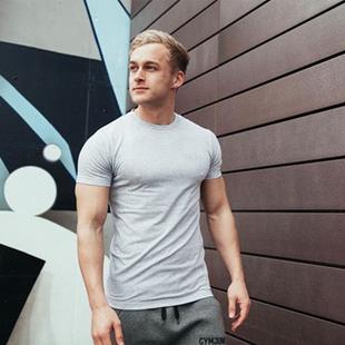 男士速干健身纯色短袖T恤