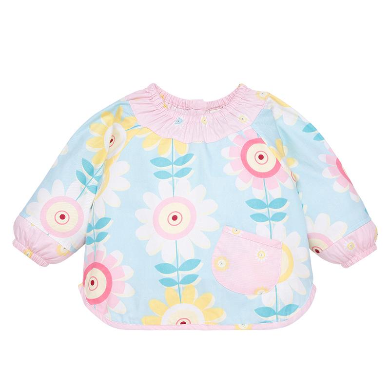 宝宝罩衣长袖防水吃饭围兜夏婴儿纯棉饭兜薄款男女儿童绘画反穿衣
