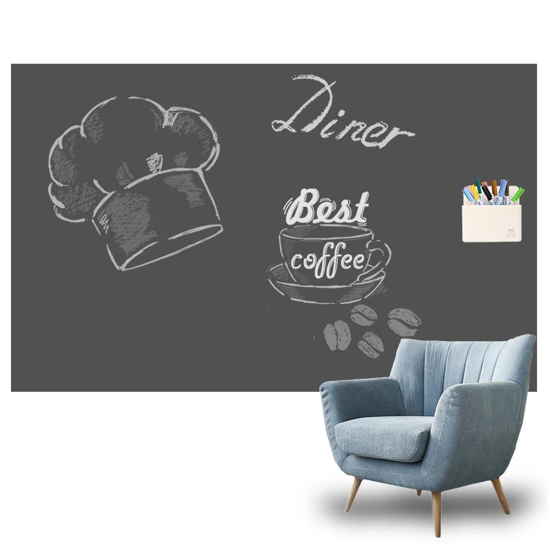 磁性黑板墙贴儿童家用环保无粉尘磁力涂鸦墙膜静灰色双层自粘定制_领取10.00元淘宝优惠券