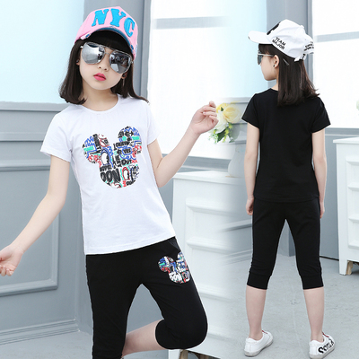 儿童夏季卡通黑色运动套装女童夏天短袖白T恤黑短裤大童装小女孩