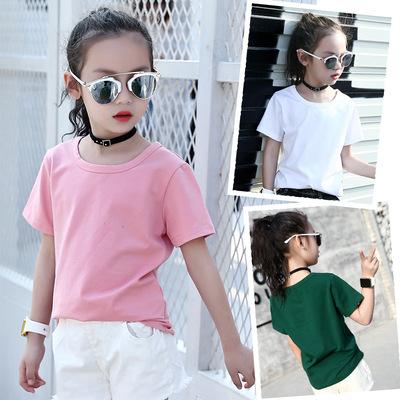 女大童7夏季装纯棉T恤8儿童910纯色短袖上衣体恤12小女孩15岁